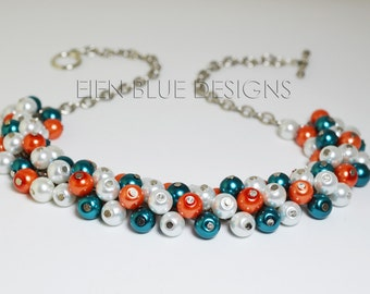White, Teal and Orange Pearl Necklace. Chunky Pearl Necklace, Teal & Orange Necklace. Miami Dolphins Necklace, White Pearl Cluster Necklace