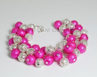 Hot Pink and Silver Pearl Bracelet, Silver Chunky Pearl Bracelet, Hot Pink Chunky Bracelet, Silver Cluster Bracelet, Hot Pink Pearl Bracelet