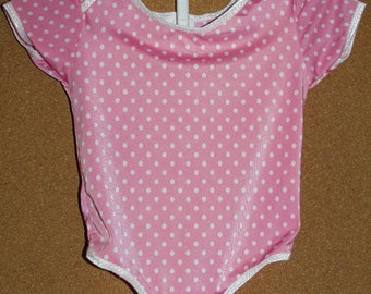Baby or Toddler Girl Ballerina Onesie Suit. Pink Dot Nylon Lycra XXS NewBorn Ships Free Inside US