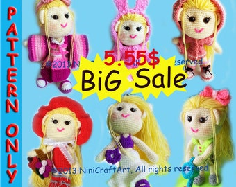 BiG Sale Lily and outfit Series 2 (7 styles) : Changeable Clothes Crochet Doll and 7 styles Outfits Pattern ( PDF only )