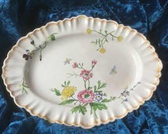 French vintage dish 19th varnished earthenware, faience from Provence Handmade and hand painting flowers and bees signed by a cross