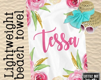 Personalized Beach Towel Peony Watercolor Monogrammed Towel 30x60 Poly/Cotton