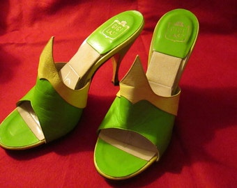 1950's/60's Ladies Lime Green and Yellow MULES/Springalators  SHOES by Catalano