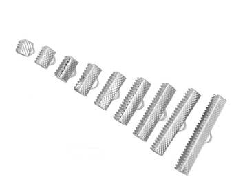 180 End Caps - Silver Plated - Textured Crimp Ends - 35x8mm to 6x8mm - Assorted Sizes - Ships IMMEDIATELY  from California - F404