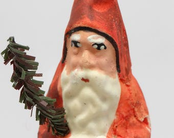 Vintage German Santa Candy Container, Antique Hand Painted for Christmas