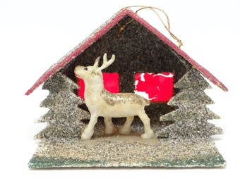 Vintage Reindeer Christmas Ornament, Antique Celluloid and Glitter House and Trees