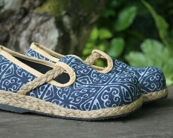 Womens Shoes, Natural Indigo Batik Hmong Vegan Loafers - Casey