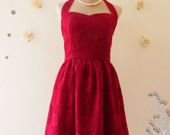 Flash Sale SALE Red Lace dress persian red dress romantic burgandy red lace dress red halter dress bridesmaid party summer dress-xs-xl,cu...