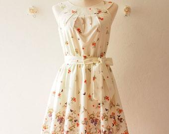 Tea Party - Off White Cream Floral Sundress Butterfly Vintage Summer Dress Audrey Hepburn Inspired Bridesmaid Dress Vintage Modern, Custom