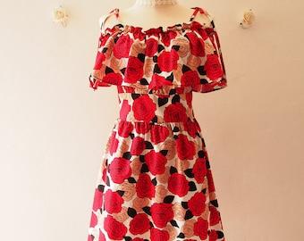 50% OFF Sale -Summer Dress Floral Sundress Red Black Floral RoseStraps Drop Shoulder Dress Date Dinner Holiday Dress- S-M (US4-8)