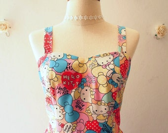 Summer Dress Backless Sundress Vintage Modern Hello Kitty Dress Back Tied Bow Party Dress Birthday Cartoon Character Dress Gift for Her