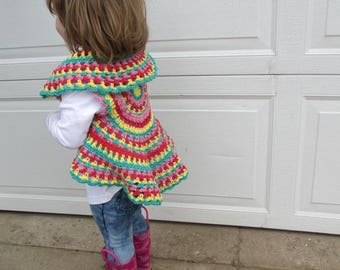 Toddler spring circle vest.  Retro look sleeveless circle sweater.  Ready to ship hippie baby toddler spring sweater vest.