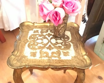Vintage Italian florentine table cottage romantic vintage shabby chic prairie