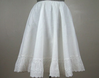Vintage 1950s Cotton Circle Slip 50s Cotton Lace Skirt Slip by Charmode Size S/M