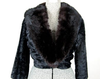 Vintage 1950s Evening Jacket 50s Black Faux Fur Cropped Bolero Coat Size M/L