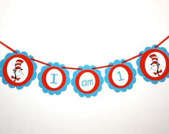 Cat in the Hat I AM 1 Banner, Dr. Seuss Party Banner, High Chair Cake Smash, Ready to Ship, Birthday Party Decoration