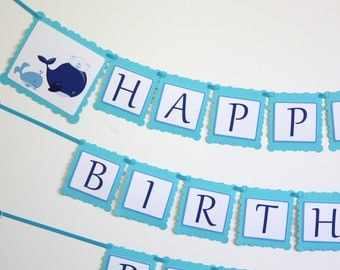 Whales Birthday Banner, Happy Birthday personalized Party Banner, FAST SHIP, Birthday Party Decorations, party decor, Custom Name & Age