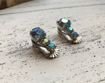 Clip on earrings with blue rhinestones - office christmas party jewellery - vintage earings
