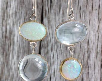 Australian Opal & Aquamarine Miss Matched Earrings