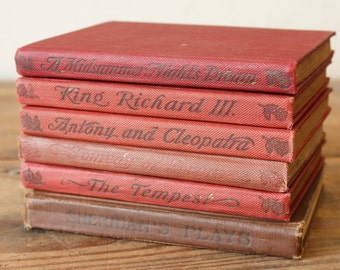 Decorative Book Stack Red Vintage and Antique Books Coffee Table Decor Shelf Styling Small Red Book Stack
