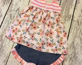 girls chambray short set, girls floral short set, chambray ruffle shorts, girls summer shorts set, floral swing top