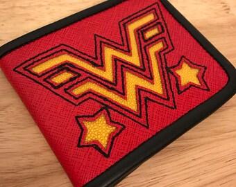 Sale!! Wonder woman Black red Genuine Leather stingray inlay WALLET Custom made built to last hotrod rockabilly billfold art pocket girls