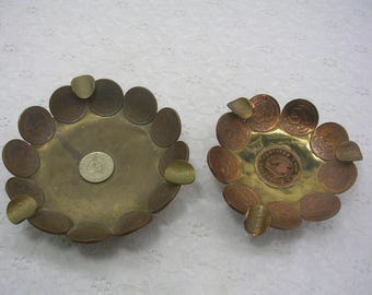 Vintage Mexican Coin Ashtray (2) Copper Brass