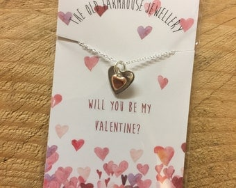 Heart necklace - valentines gift card