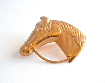 9ct Gold Horse's Head Brooch, Vintage  Fine Jewellery, Riding Horse