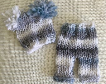 hand knit newborn baby boy pompom hat and trousers blue grey white