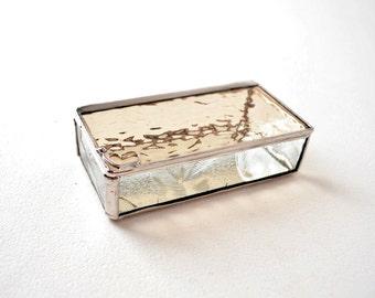 Peach Glass Box, Glass Box, Glass Display Box, Glass Jewelry Box, Jewelry Box, Gift For Girlfriend, Bridesmaid Gift