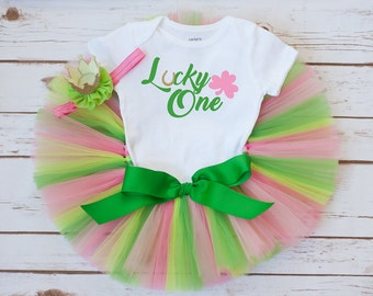 """Lucky one first birthday """"Lucky"""" St Patricks day birthday St Patricks Day baby outfit St Pattys Day outfit girls first birthday one outfit"""