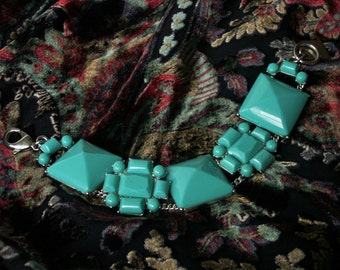 Chunky Acrylic Turquoise Blue Geometric Floral Bracelet Double Silver Tone Chain Held Wide Bracelet Statement Jewelry