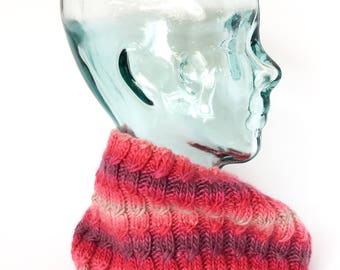 Cowl, Cozy Infinity Cowl, Hand-knit Cowl, Neck Warmer, Knitted Tube Cowl, Hand Knit Snood,