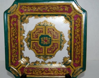on sale Andrea by Sadek decorative square plate   green and gold  square home decor plate