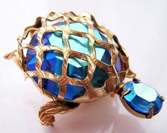 "Turtle Brooch Pin SIGNED WARNER Blue Glass AB Rhinestones Gold Metal 2"" Vintage"