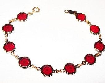 "Swarovski Link Bracelet Red Crystal Rhinestones Edelweiss Logo Gold Metal 7 1/4"" Vintage"