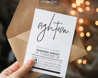 BY331 DIGITAL Eighteen Birthday Party Invitation - modern minimal HAND LETTERED stylish type invite printable 18th 21st 30th 40th 50th 60th
