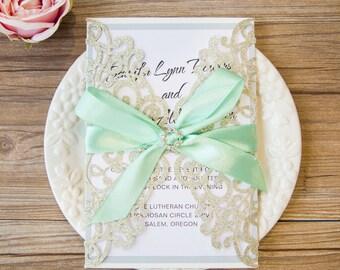Glitter Wedding Invitations. Lasercut Wedding Invitation. Elegant Wedding. Laser Cut. Silver and Aqua. Silver Glitter Invitation. Rhinestone