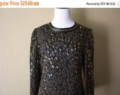 BIRTHDAY SALE Vintage Gold and Bronze Beaded Blouse