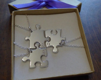 Three Silver Puzzle Pendants with Initials Necklaces