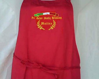"""Italian GENEALOGY Your """"Family Name"""" Personalized Embroidered Italian Apron - 100% COTTON"""