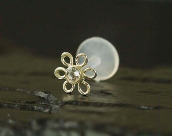 Crystal wire flower 16gauge push in  bio flexible Tragus / Helix / Cartilage - Single