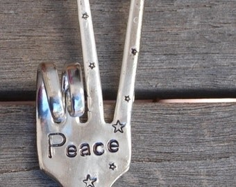 PEACE sign Ornament // hand stamped Recycled FORK with Stars // hangs from Black Suede Leather