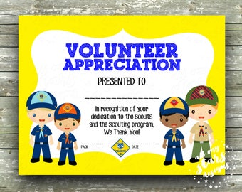 Cub scout awards etsy cub scout pack volunteer appreciation award 85x11 blank printable instant download yadclub Choice Image