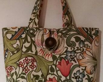 William Morris Golden Lily fabric, Gift, arts and crafts, handmade bag, Boho bag, Art Nouveau, Sanderson, vintage fabric,