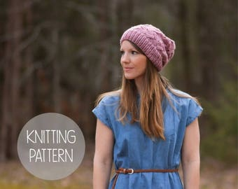 FLASH SALE knitting pattern spring slouchy hat toque - the petals beanie