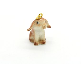 Tiny Porcelain Lop Ear Bunny Charm Rabbit Pendant Hand Painted Porcelain Charm Glass Bunny Charm Vintage Style Jewelry Supplies ()