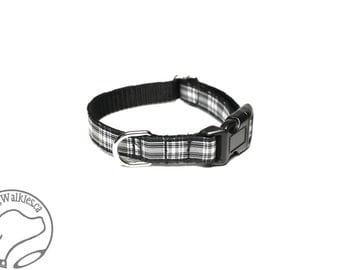 """Menzies Clan Tartan Small Dog Collar - Thin Dog Collar - 1/2"""" (12mm) Wide - Black and White Plaid - Choice of style and size"""
