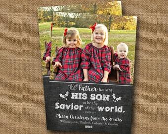 Printable Christmas Photo Card   Chalkboard Christmas Card   DIY PRINTABLE   Christian, Christmas Scripture Verse   Bible Typography Card